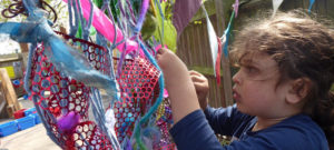 Creating some colourful outdoor art